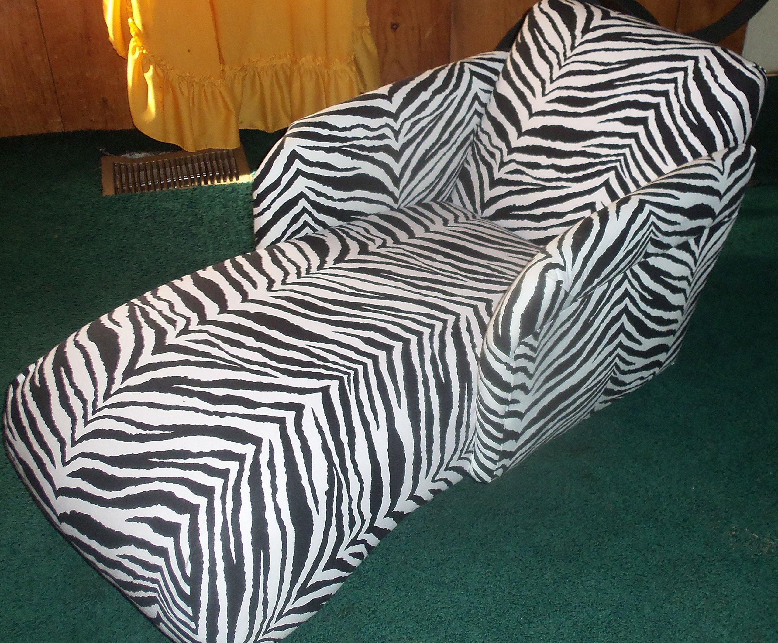 Kids Chaise Chair Black White Zebra