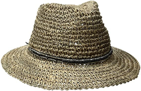 7ad8c01e002da4 'ale by alessandra Women's Trancoso Crochet Seagrass Hat With Beaded Metal  Trim, Black,