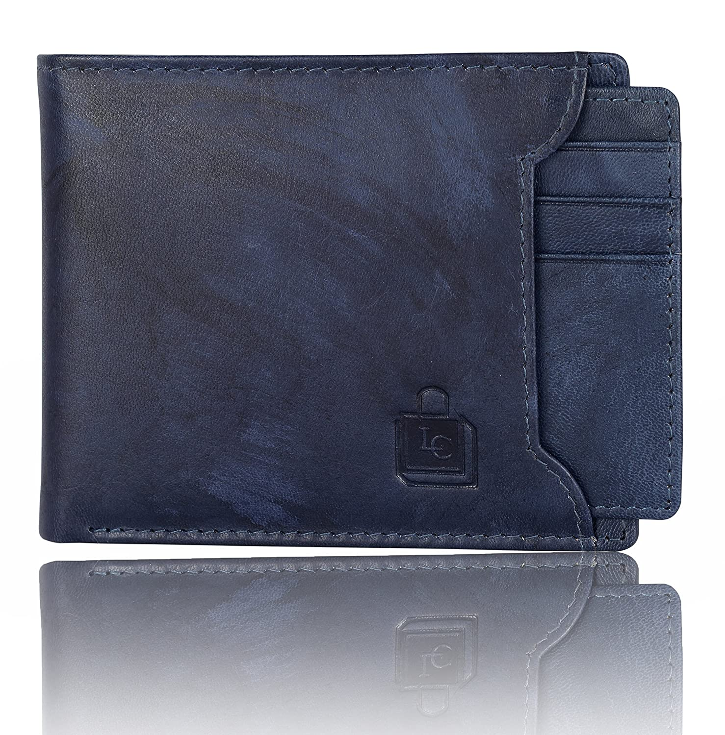 Le craf Men's Blue Genuine Leather RFID Blocking Wallet W4230829