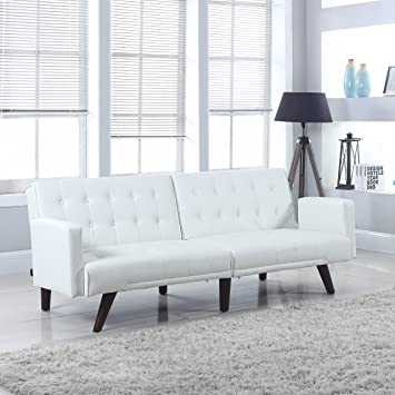 Modern Convertible Tufted Bonded Leather Splitback Sleeper Sofa Futon (White )