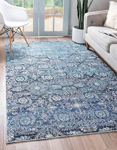 Unique Loom Augustus Collection Boho Traditional Vintage Teal Area Rug 10 6 x 16 5