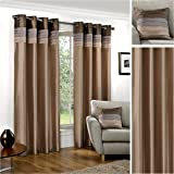 Hamilton McBride Seattle Natural Ring Top / Eyelet Fully Lined Readymade Curtain Pair 46x54in(116x137cm) Approx