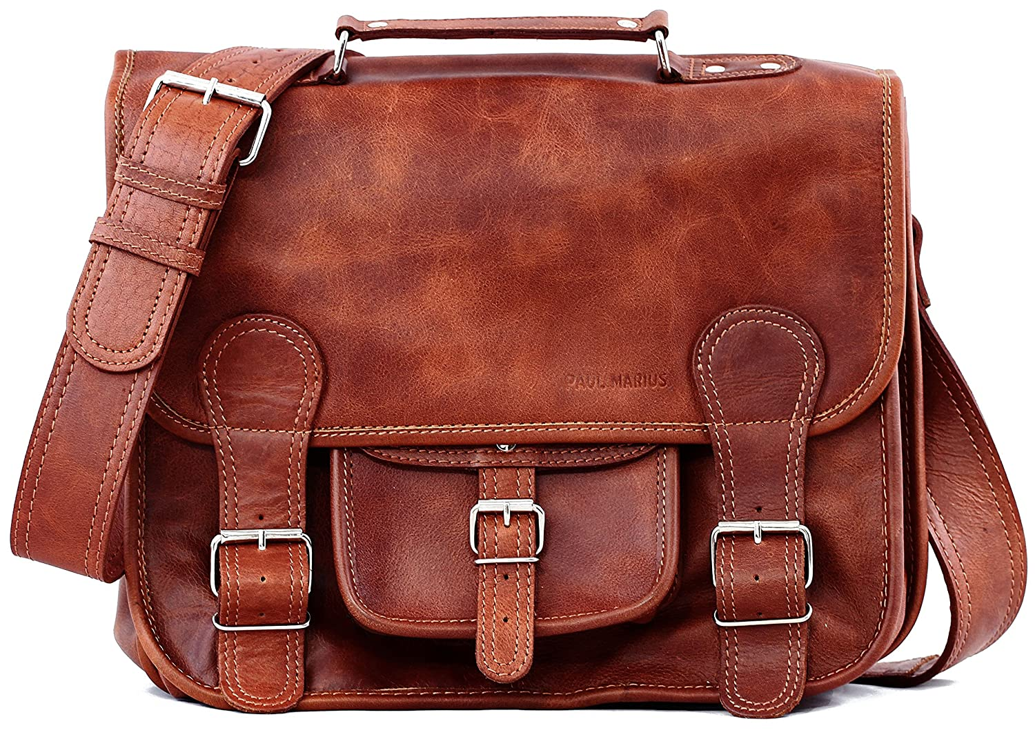 Paul Marius Cartable Cuir Vintage - Retro Sac cuir bandoulière signé Collection La Cartable