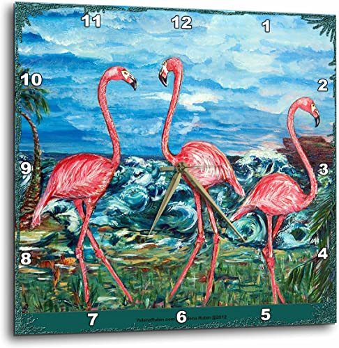 3dRose DPP_54898_2 The Concept of Love Bird Flamingos and The Subliminal Heart Formed by The Heads Wall Clock, 13 by 13-Inch