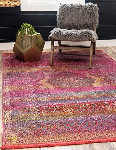 Unique Loom Baracoa Collection Bright Tones Vintage Traditional Pink Area Rug 8 x 10