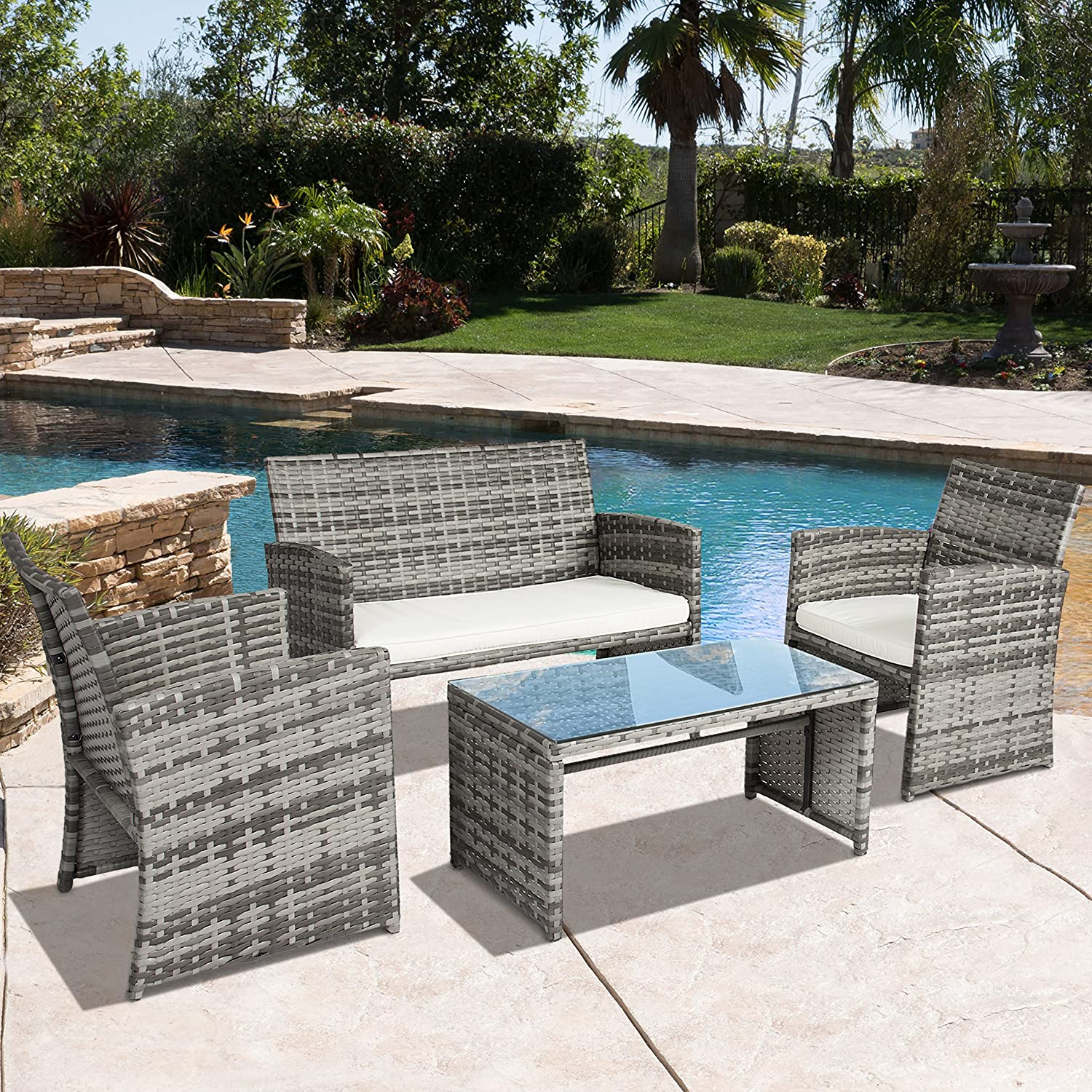 Amazon.com : Best Choice Products 4 Piece Outdoor Garden Patio Cushioned  Seat Mix Gray Wicker Sofa Furniture Set : Patio, Lawn U0026 Garden