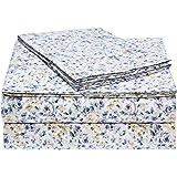 AmazonBasics Microfiber Sheet Set - Full, Blue Floral