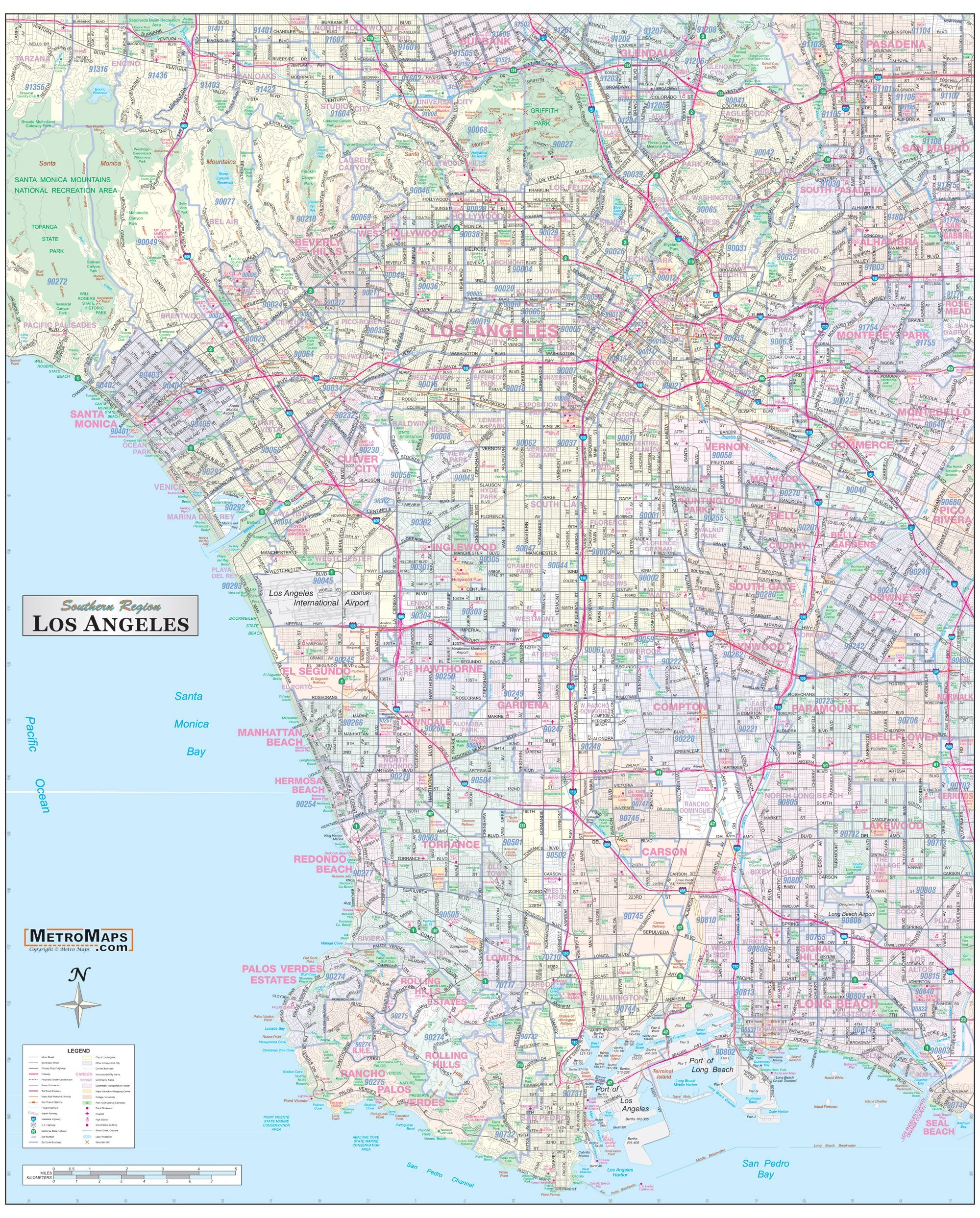 "Download Los Angeles CA Detailed Region Wall Map 48""x59"" with Zip Codes pdf"