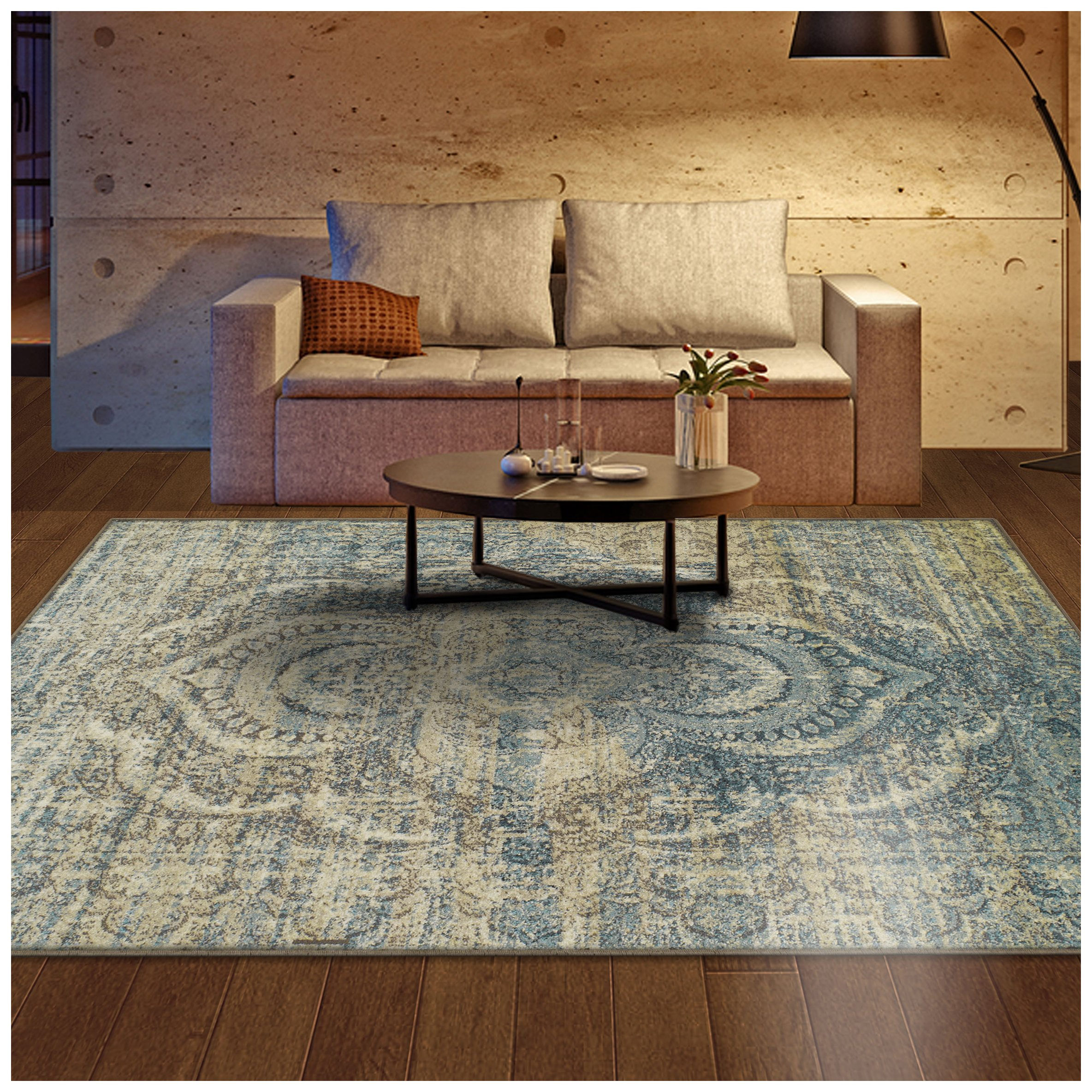 Superior Salford Collection Area Rug, 10mm Pile Height with Jute Backing, Fashionable and Affordable Rugs, Distressed Vintage Persian Rug Design - 8' x 10' Rug, Blue and Beige by Superior