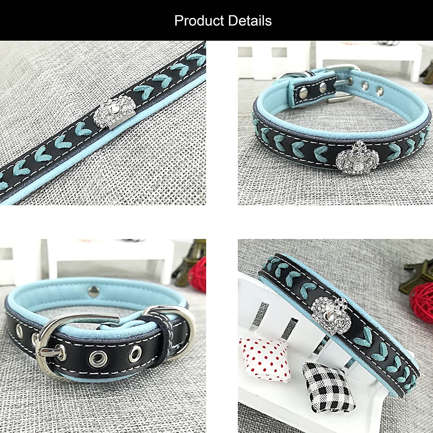 Newtensina Dog Collar and Lead Set Nylon Straps Woven Bling Collar Leather Diamante Puppy Collar with Leash for Dogs S Pink