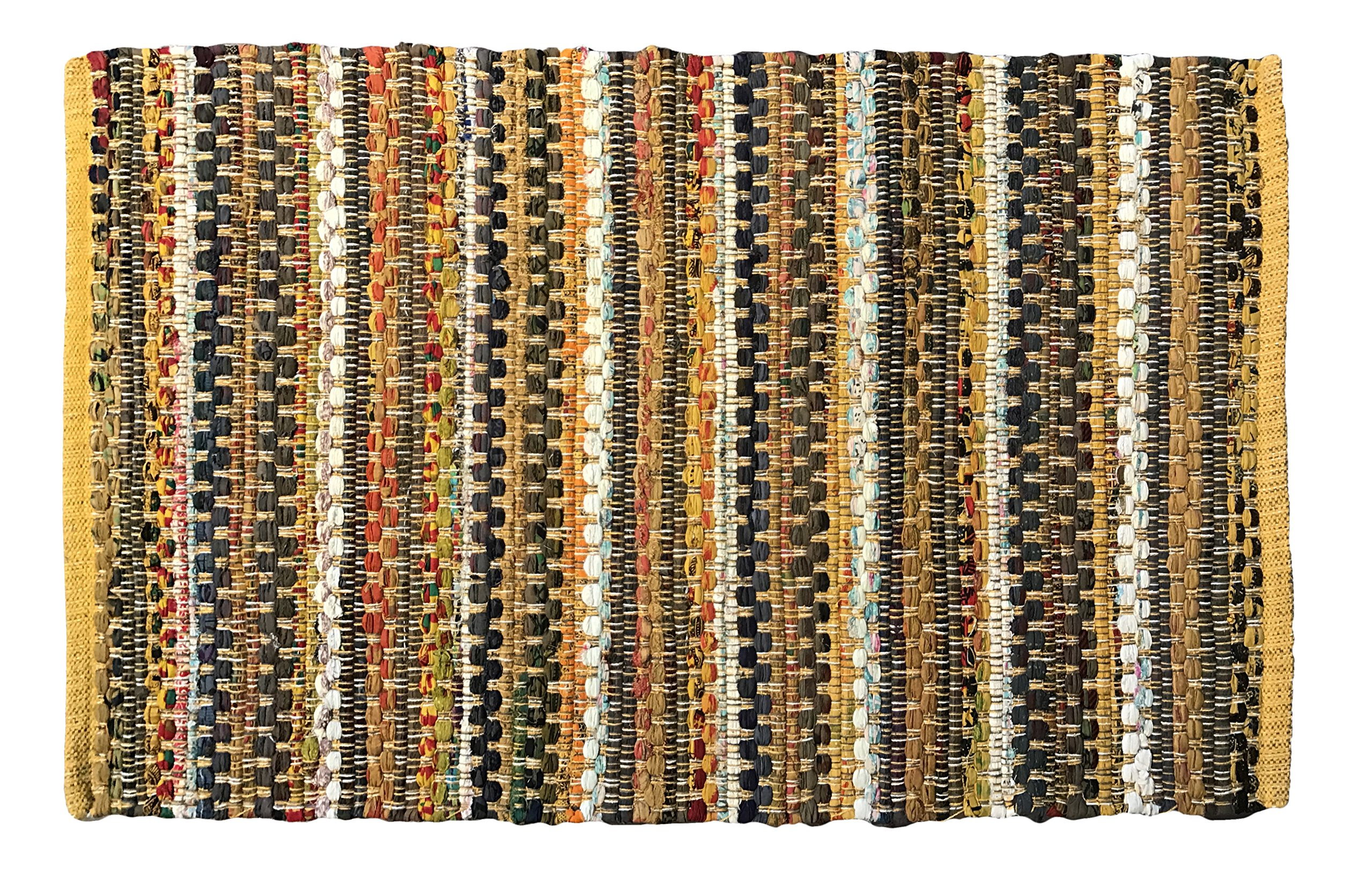 2'x3' Handwoven Cotton Area Rug, Made by Skilled Artisans in India (Yellow)