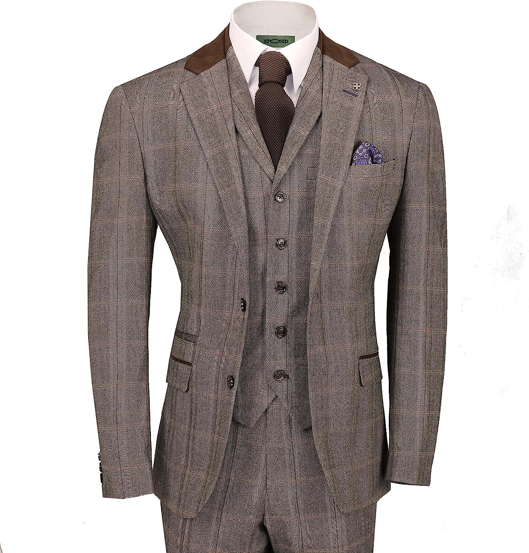 Cavani Mens Tweed Check 3 Piece Suit in Brown Blue Retro Vintage Herringbone Smart Tailored Fit