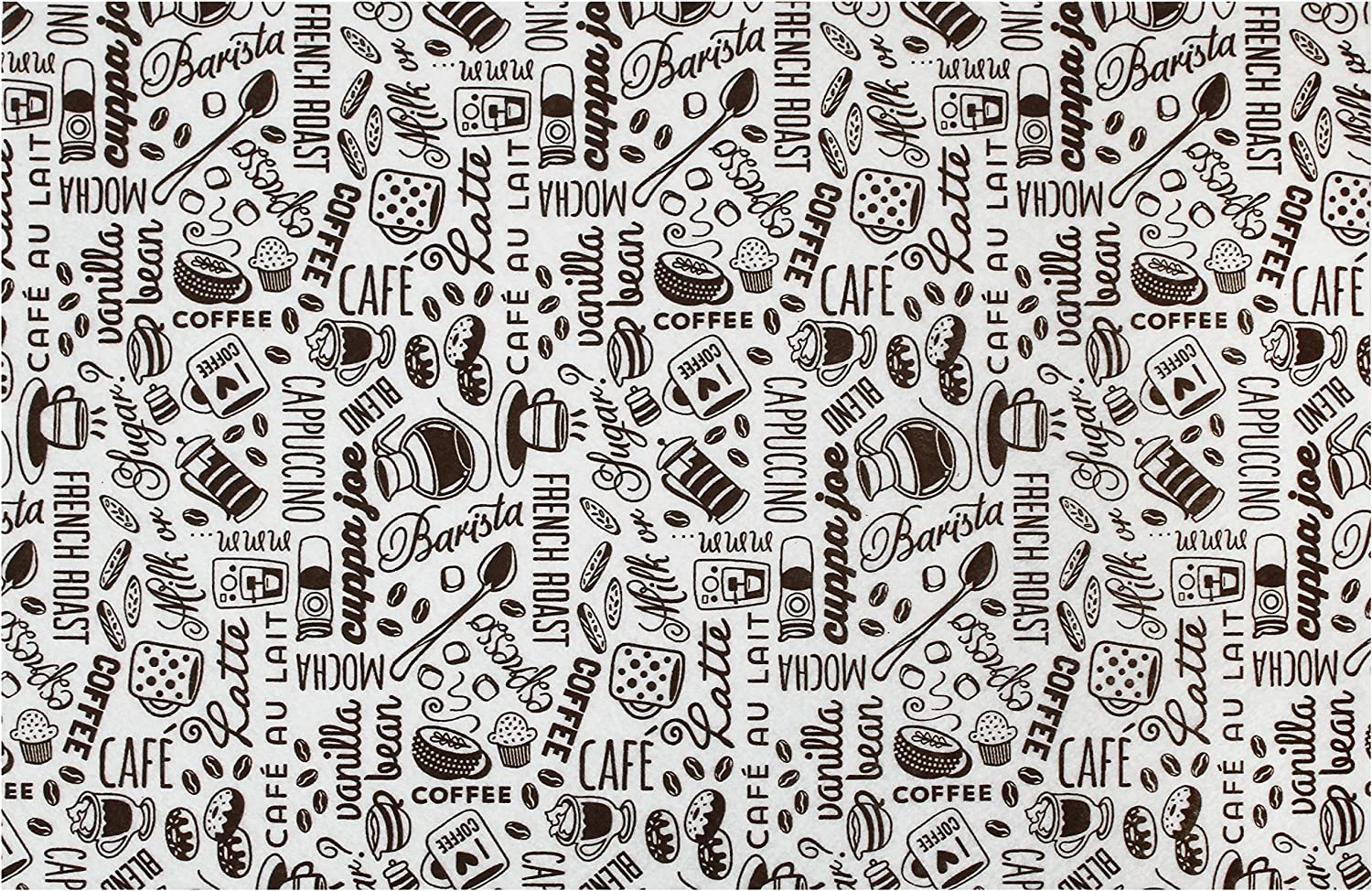 S&T INC. Coffee and Java Maker Mat - 12 Inch x 18 Inch, Brown Typography