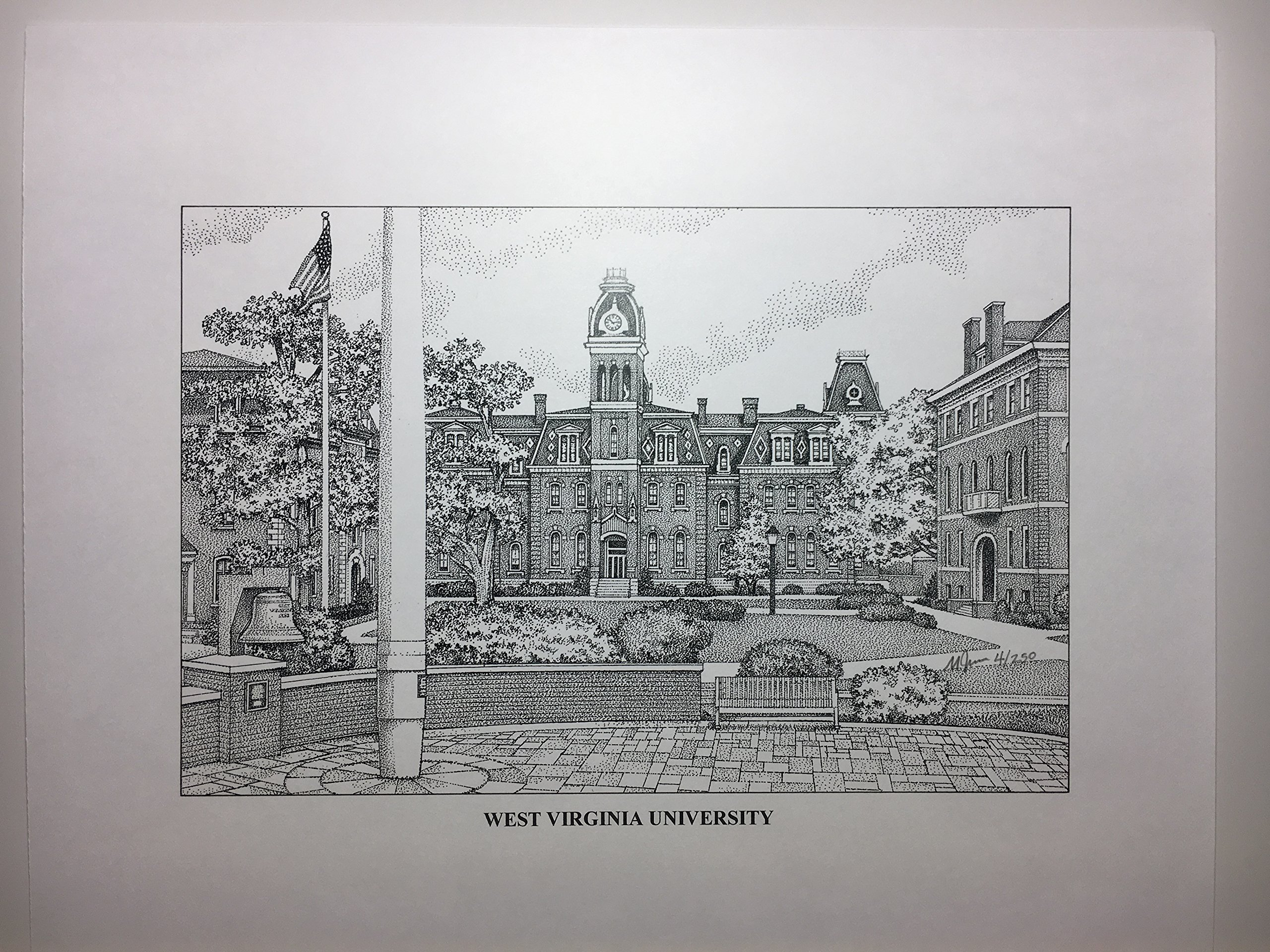 West Virginia - Woodburn Hall 11''x14'' hand-drawn pen and ink print