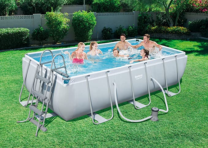 Bestway 56441 Juego de Piscina Rectangular Power Steel, Azul, 4.04mx 2.01mx 1.00m