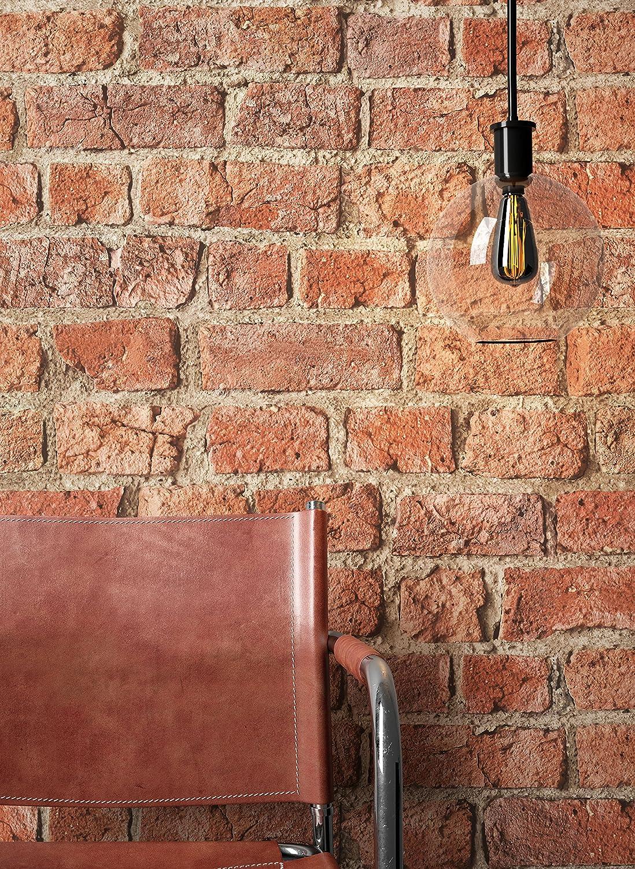 NEWROOM papel pintado de piedra rojo muro piedra natural moderno papel marron buhardilla Industrial | papel pintado ladrillo | efecto piedra