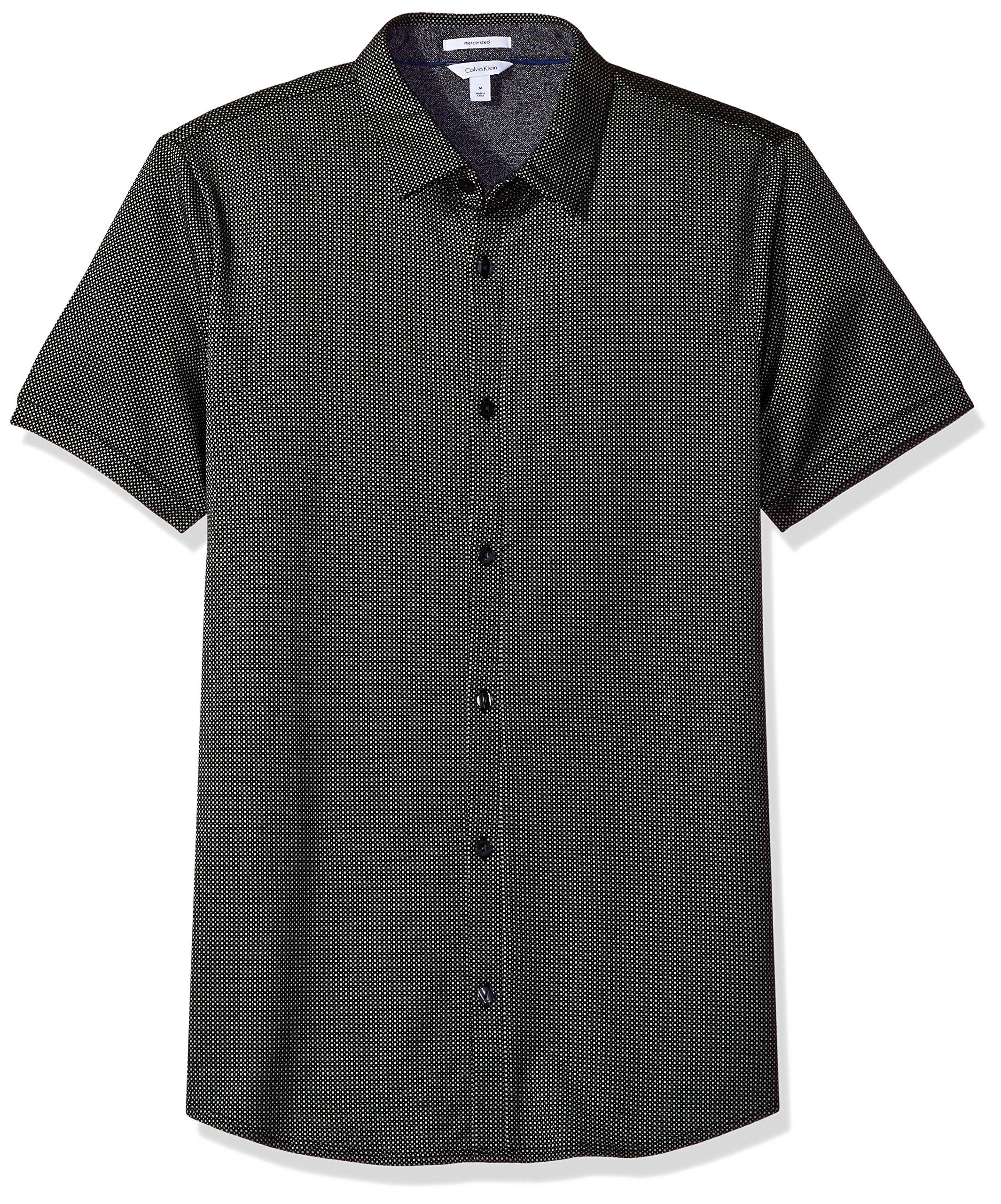 Calvin Klein Men's Textured Jacquard Coat Front Shirt, Black, Small
