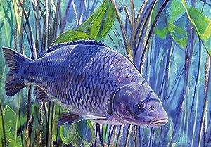 Carp Pastel Painting Art, Common Carp Wall Art Print, Hand Signed Fishing Gift By Jack Tarpon, Carp Gift, Fish Decor, Colorful Carp Fishing Aquatic Art Gift