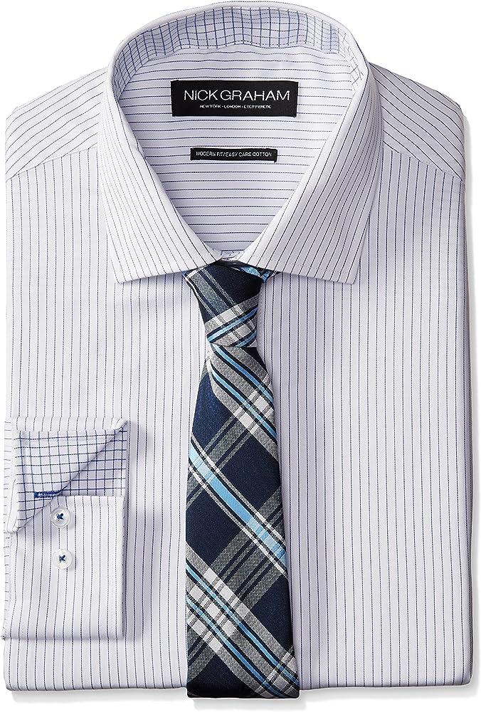 Nick Graham - Camisa de Vestir de Sarga a Rayas para Hombre con ...