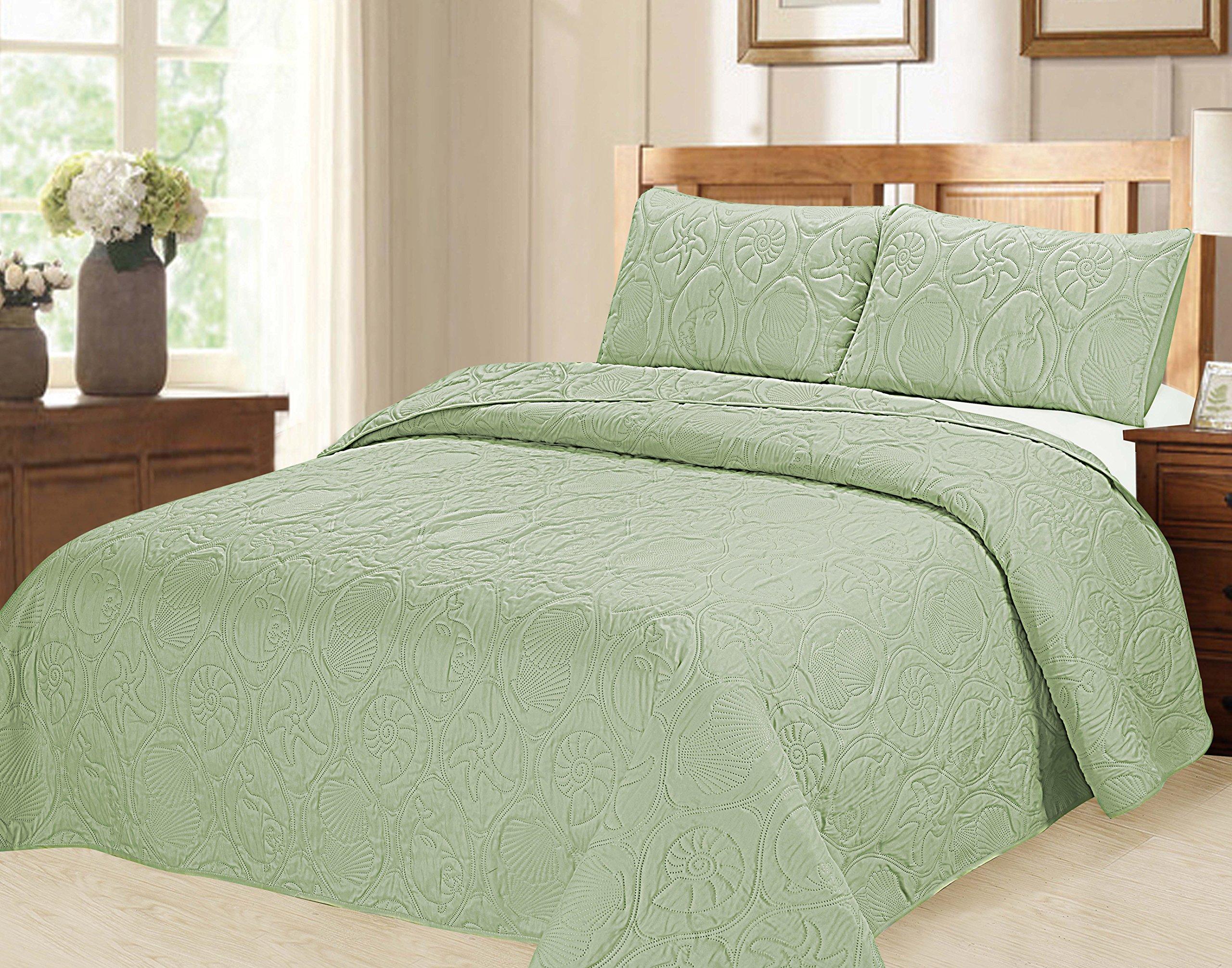 Verno Ocean Star Oversized Bedspread Set with Shams (Sage, Full)