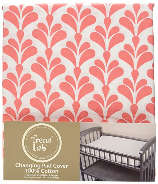 Amazon.com : Trend Lab Shell Floral Changing Pad Cover, Coral/White : Baby