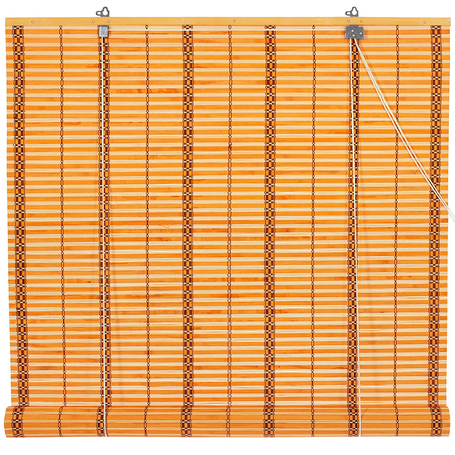 Oriental Furniture Burnt Bamboo Roll Up Blinds - Two-tone Honey - (36 in. x 72 in.) WT-YJ1-8B22-36W