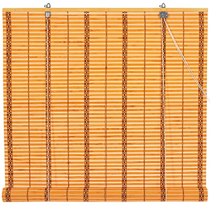 36 x 72 blinds horizontal blinds oriental furniture burnt bamboo roll up blinds twotone honey 36 in amazoncom two