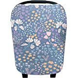 """Baby Car Seat Cover Canopy and Nursing Cover Multi-Use Stretchy 5 in 1 Gift """"Meadow"""" by Copper Pearl"""