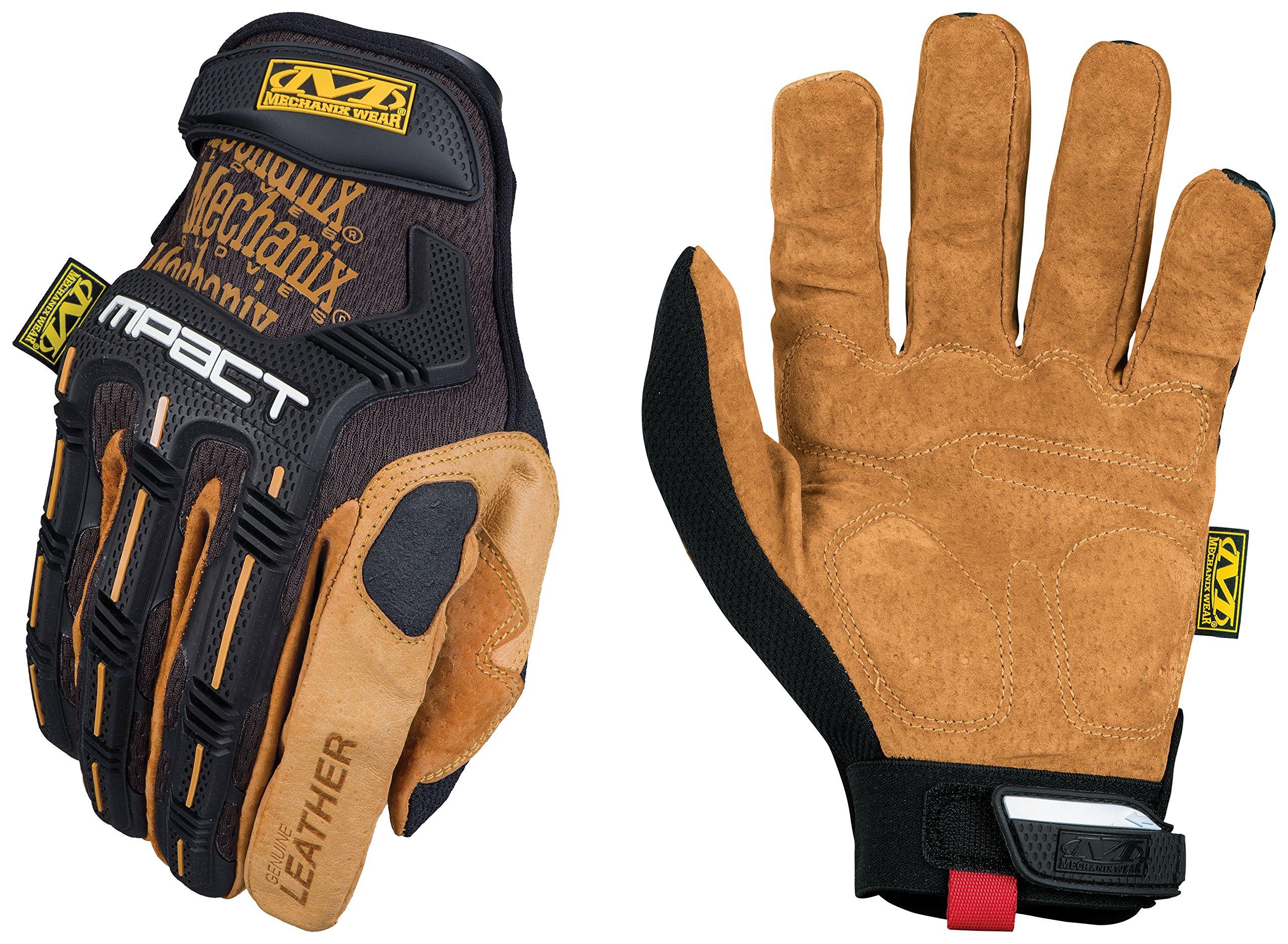 Mechanix Wear - Leather M-Pact Gloves (Large, Black/Brown) by Mechanix Wear