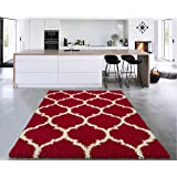 """Sweethome Stores COZY3330-3X5 Shaggy Rug, 3'3"""" X4'7"""", Red White Trellis"""