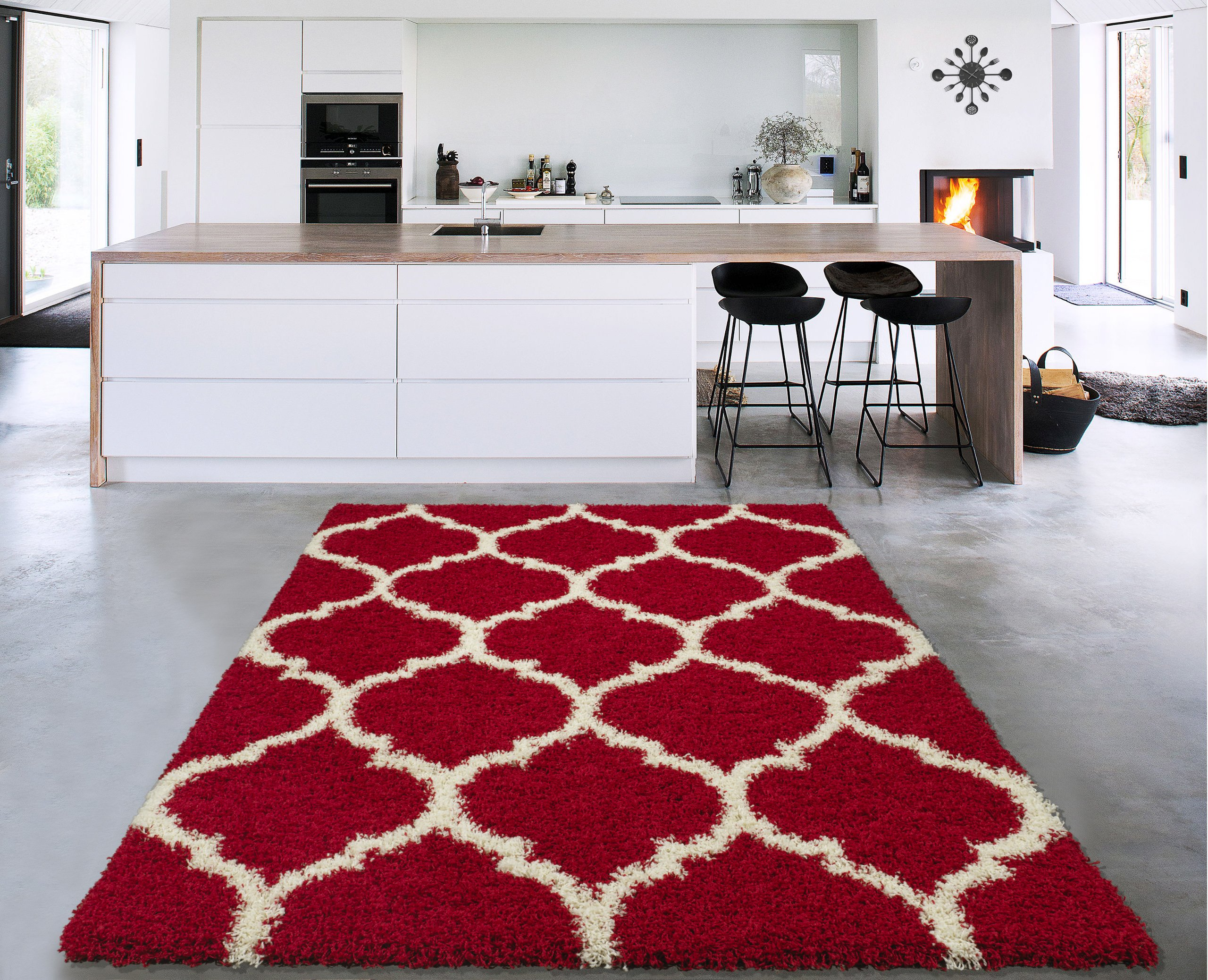 Sweethome Stores COZY3330-3X5 Shaggy Rug, 3'3'' X4'7, Red White Trellis