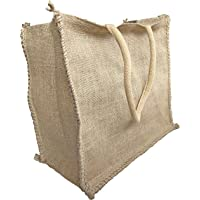 Reusable Shopping Bags – HOMEDULGENCE Eco Friendly Jute Grocery Bags –Durable – Plastic-Free 100% Natural - Stylish Rustic Style Plain with no Prints – Long Cord Handles – Large Capacity