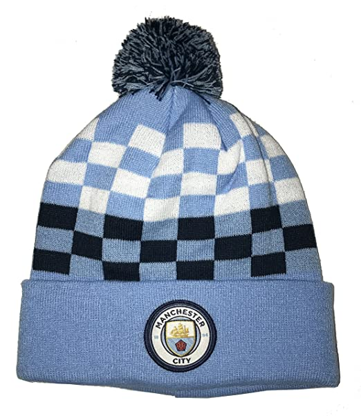 84512c6e309889 Icon Sports Manchester City Pom Foldover Beanie (One Size, Col. Blue  Checkered)