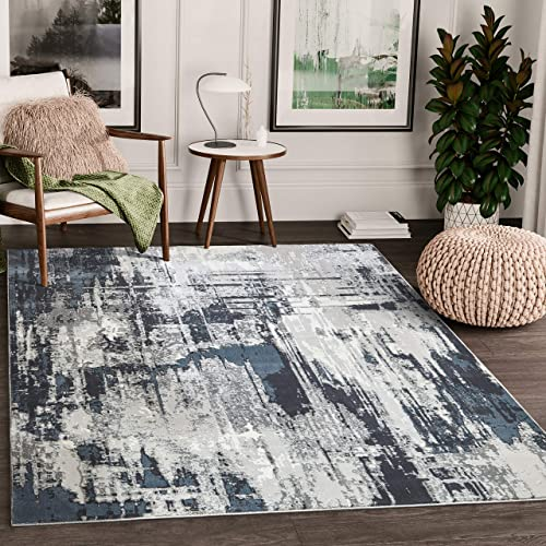 Vista Collection Distressed Blue Grey 6 x9 Area Rug – Classic Accent Rug by Abani Rugs
