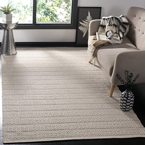Safavieh Montauk Collection MTK341A Handmade Flatweave Ivory and Grey Cotton Area Rug 5 x 8