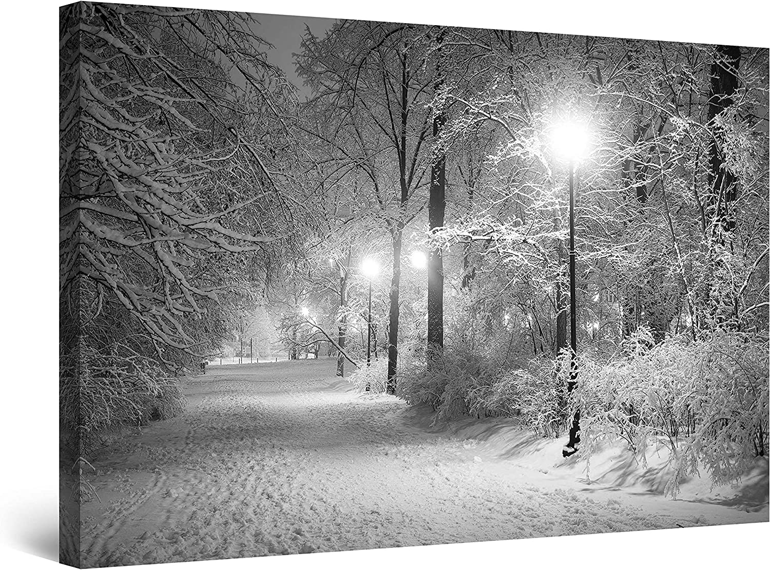 Startonight Canvas Wall Art Black and White Abstract Winter Park Landscape, Framed Quantic Home Decor for Living Room 32