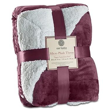 Genteele Sherpa Throw Blanket Super Soft Reversible Ultra Luxurious Plush Blanket (60  X 70 , Rich Purple)