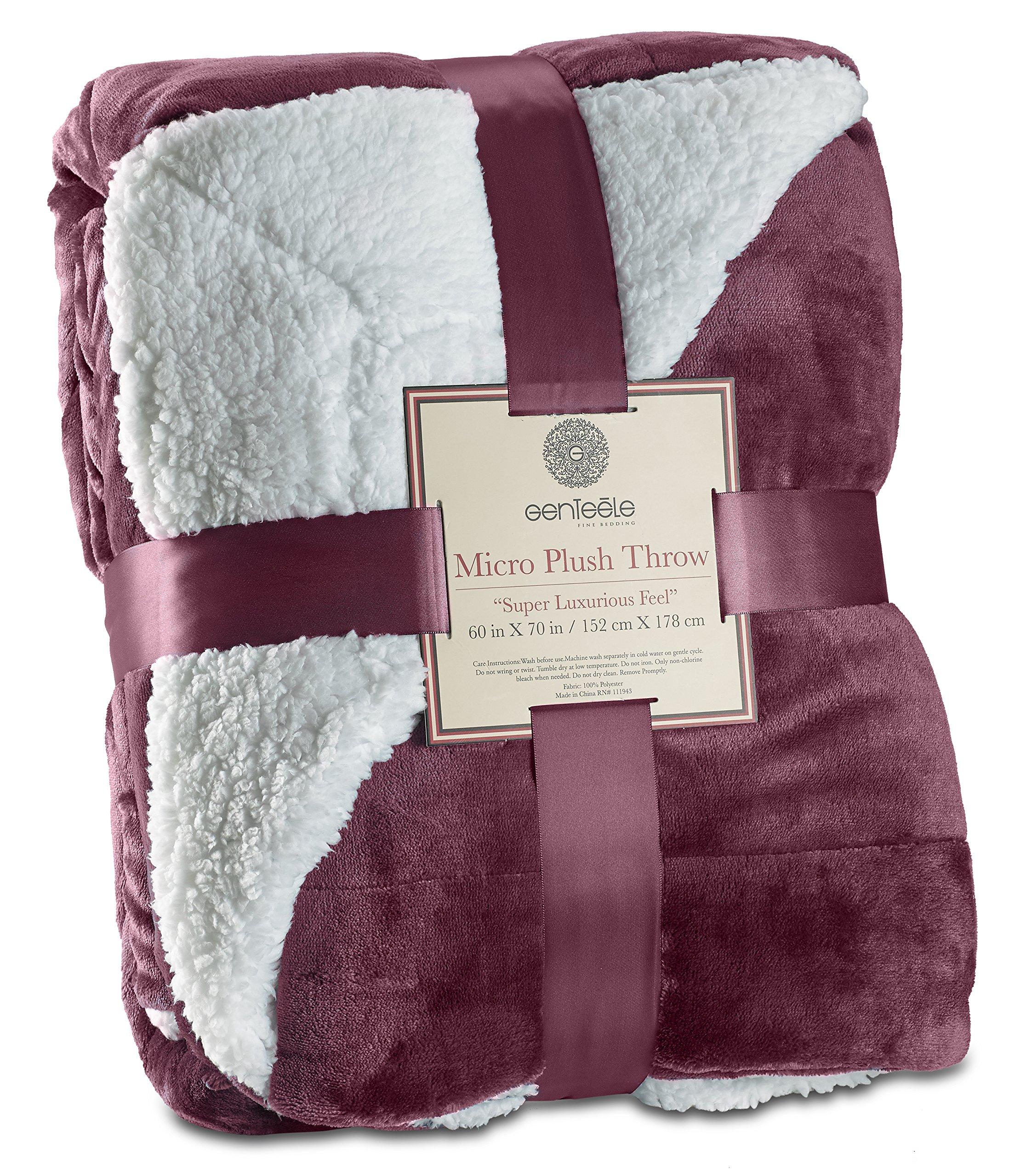 Genteele Sherpa Throw Blanket Super Soft Reversible Ultra Luxurious Plush Blanket (60'' X 70'', Rich Purple)