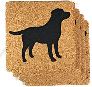 "Labrador Retriever Dog Gift Cork Drink Coasters Set of 4- Basic Design Lab Dog Decor - Perfect Decoration for Puppy Lovers (Labrador, 3 7/8""x1/8"")"