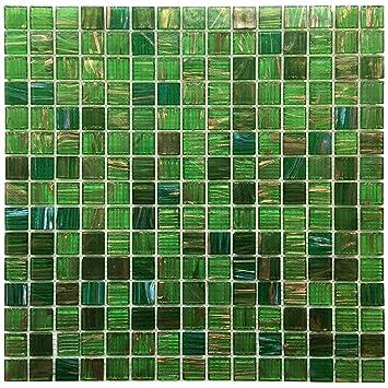 Vert émeraude irisé en verre pour Dosseret Mesh-mounted 3/4 x 3/10,2 ...