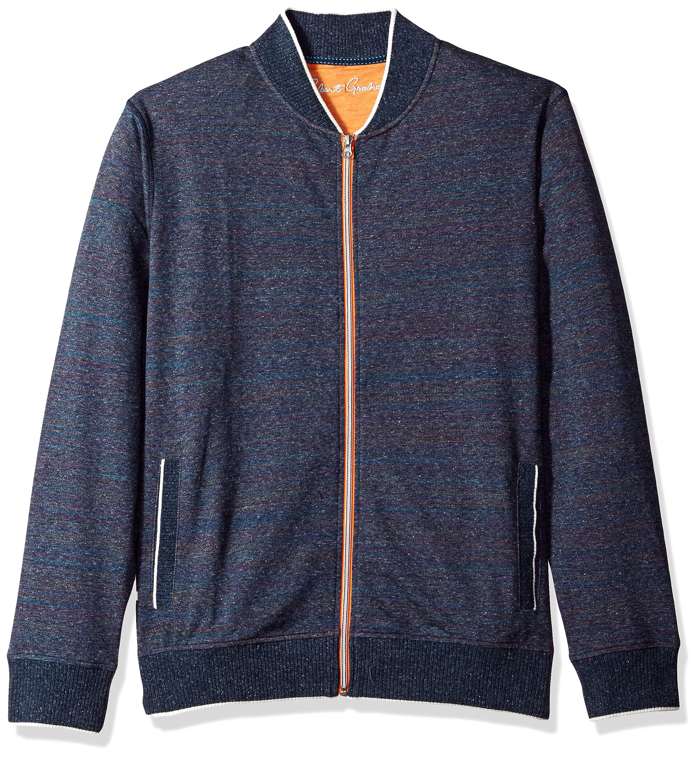 Robert Graham Men's Vagabond Cotton Full Zip Knit, Heather Navy, Large by Robert Graham (Image #1)