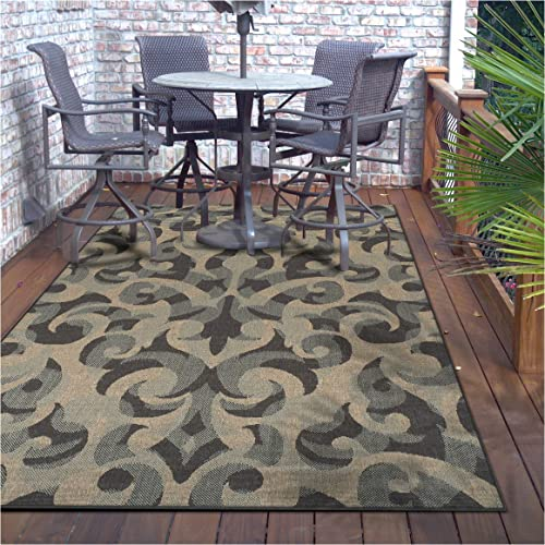 Superior Aldaine Collection 8 x 10 Area Rug, Indoor Outdoor Rug with Jute Backing, Durable and Beautiful Woven Structure, Textured Grey, Beige, and Teal Damask Pattern
