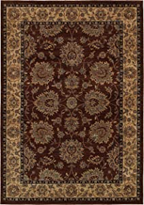 Rizzy Home Bellevue Collection Polypropylene Area Rug, Khaki/Burgundy Border