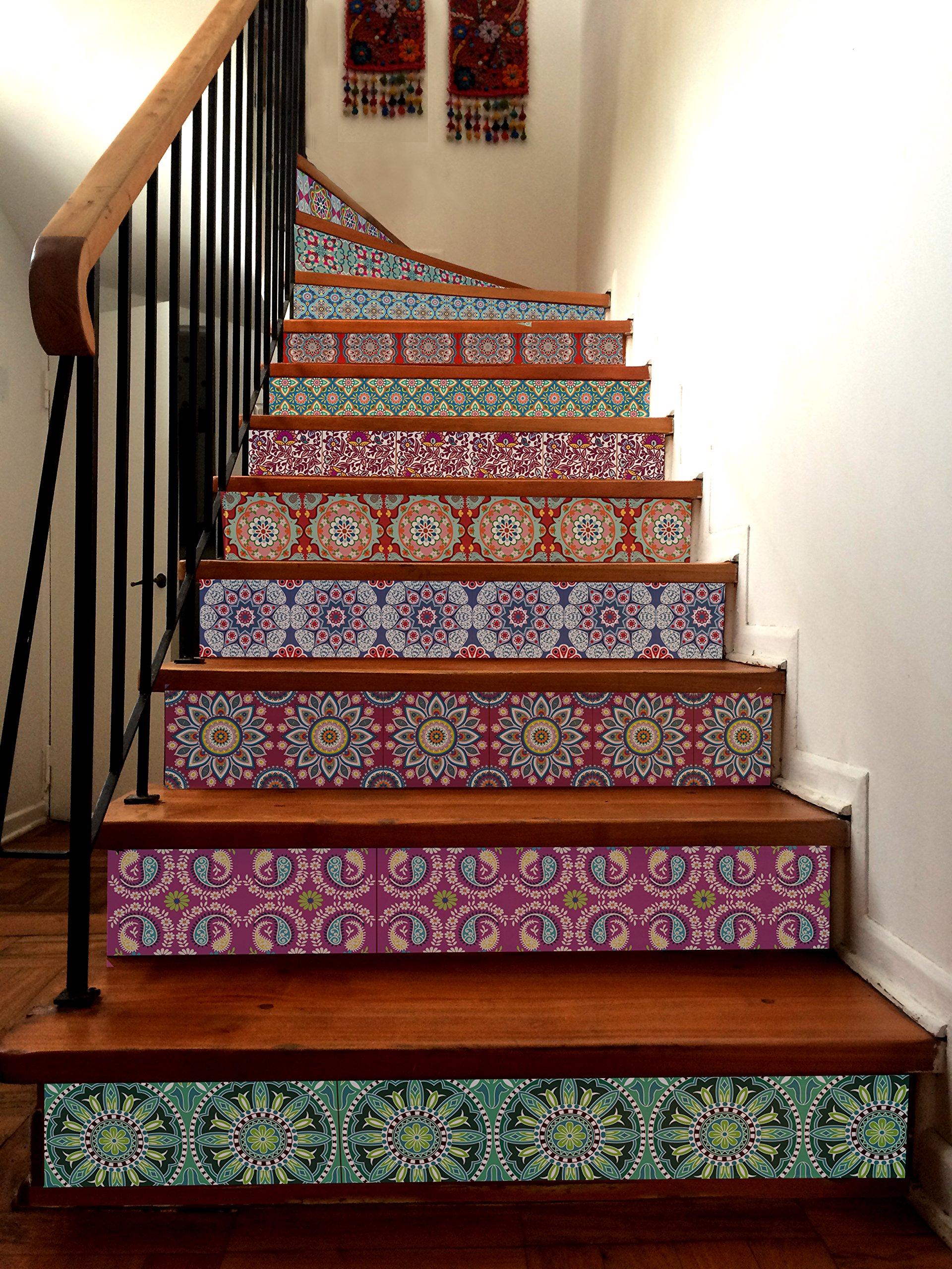 INDIA Decorative Tile Stickers Set 12 units 6x6 inches. Peel & Stick Vinyl Tiles. Home Decor. Furniture Decor. Backsplash. by VALDECO