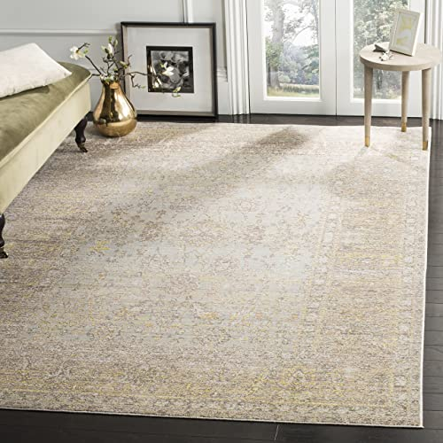 Safavieh Valencia Collection VAL123C Grey and Multi Vintage Distressed Silky Polyester Area Rug 9 x 12