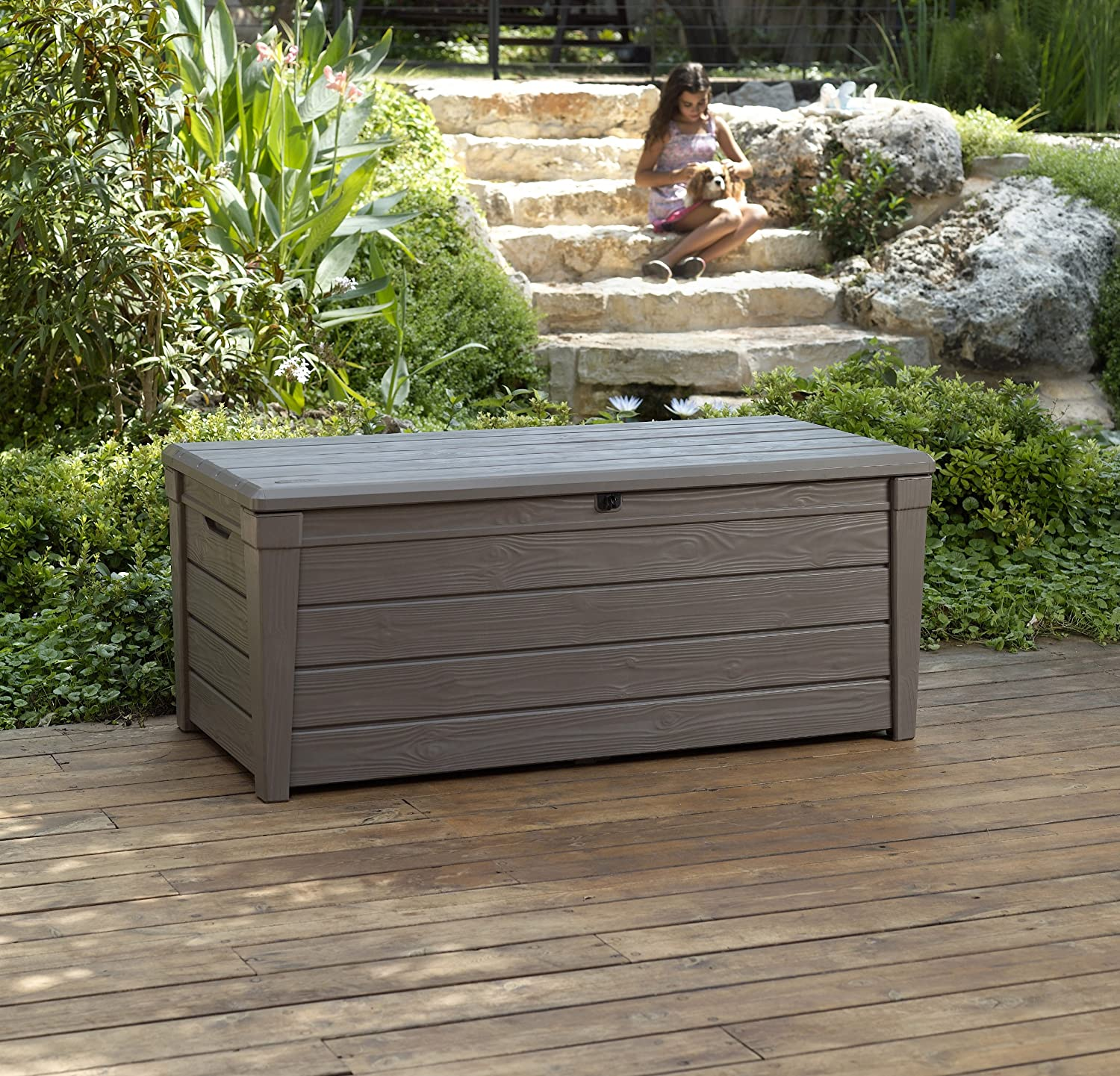 diy wood deck box. amazon.com : keter brightwood 120 gallon outdoor garden patio storage furniture deck box \u0026 diy wood