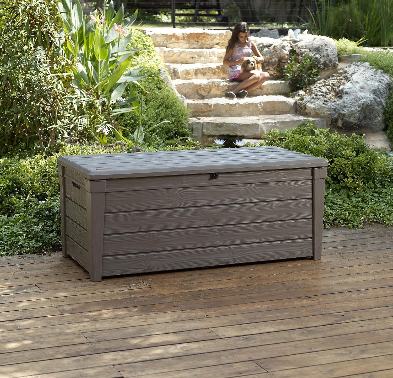 Amazon.com : Keter Brightwood 120 Gallon Outdoor Garden Patio Storage  Furniture Deck Box : Keter Storage : Garden U0026 Outdoor