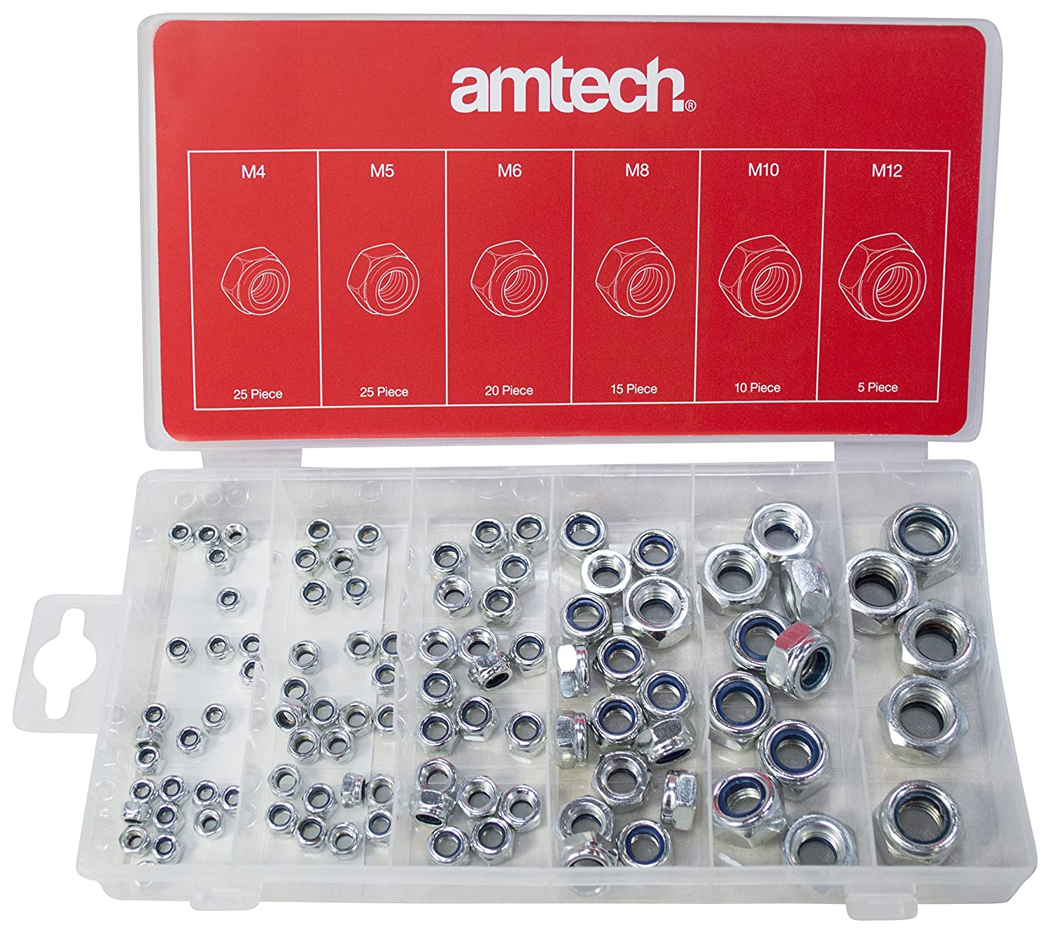 Amtech S6220 Lock Nuts, 100-Piece AM-S6220