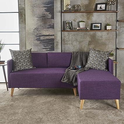 e18acf15f1a6a Amazon.com: Andresen Mid Century Modern Muted Purple Fabric Chaise ...