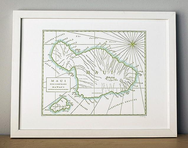 Amazon com: Maui, Hawaii, Letterpress Map Unframed Print